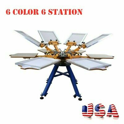 6 Color 6 Station Screen Printing Machine Press T-shirt Printer Carousel-usa