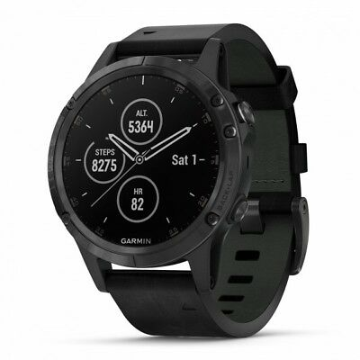 Garmin fenix 5 Plus Sapphire Black GPS Watch - Black Leather Band 010-01988-06