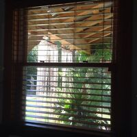 Faux wood and roller blind various sizes