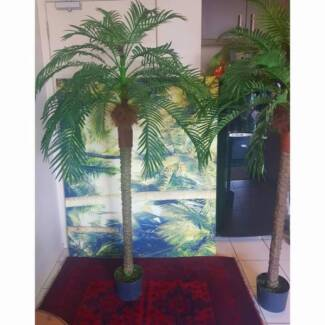 2 Huge Synthetic palm trees 6 foot 2