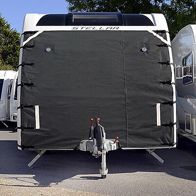CARAVAN FRONT TOWING COVER PROTECTOR - UNIVERSAL FREE LED LIGHTS - DARK GREY 004