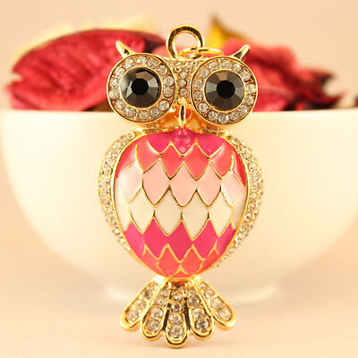 Pink Feather Owl Keychain Rhinestone Crystal Charm Cute Bird Animal Gift 01090 - Bird Keychain
