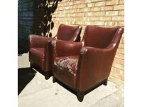 Pair of Art Deco brown leather chair armchair