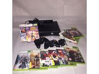 Xbox 360 with Kinect, games and rechargeable battery packs