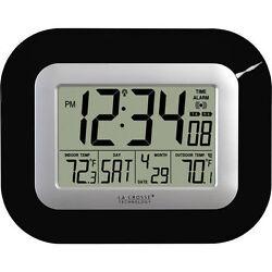 La Crosse Atomic Wall Clock Wireless Outdoor Temperature Sensor Indoor Black