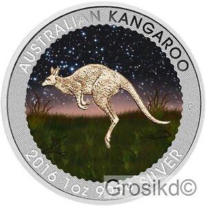 AUSTRALIA 2016 $1 KANGAROO NIGHT 1 Oz SILVER COLOR MINTAGE 100 PCS ONLY COA - Sejny, Polska - AUSTRALIA 2016 $1 KANGAROO NIGHT 1 Oz SILVER COLOR MINTAGE 100 PCS ONLY COA - Sejny, Polska