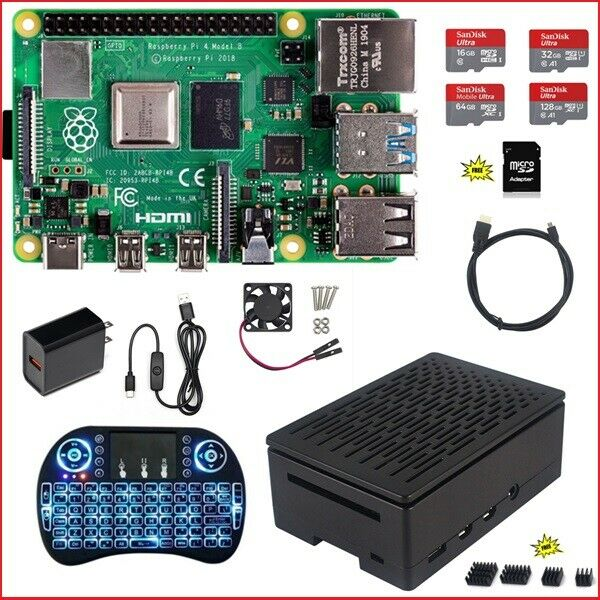 Raspberry Pi 4 B 1G 2G 4G DIY Kit Power Supply Black Case Fan Micro-SD HDMI Computers/Tablets & Networking