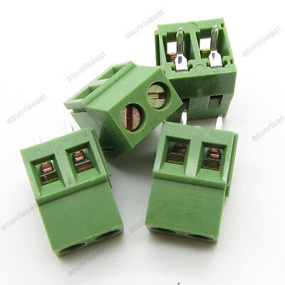 10 Pcb Screw Terminal Block 2 Pole 5mm Pin Pitch For 22-12awg Wire 300v 10a