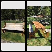 Cedar bench that turns into a picnic table