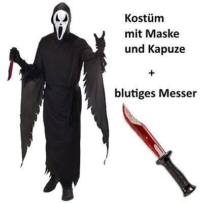 Komplett Set SCHREIENDER GEIST S 48 Herren Kostüm + blutiges MESSER - SCREAM (Blutiges Scream Kostüm)