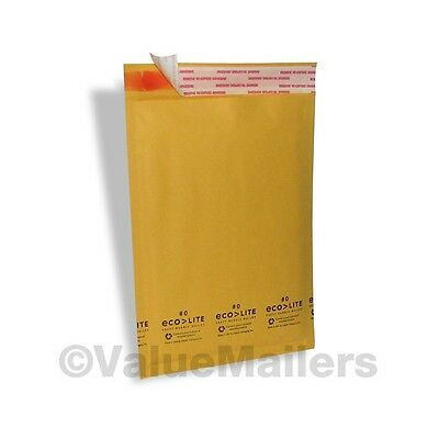 100 0 Kraft Ecolite 6.5x10 Bubble Mailers Padded Envelopes Mailing Bags Cd Dvd