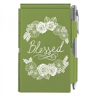 2236 Blessed Wellspring Flip Note Wpen Pocket Notepad Green Faith Religious