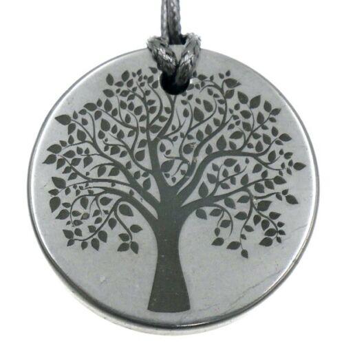 Shungite Emf Protection Necklace Tree of Life Engraved Pendant Circle 50 mm