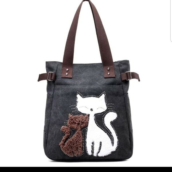 Black Canvas Bag with Cat picture