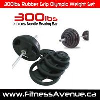"""300lbs Rubber Grip Olympic Weight Set Plates 2"""" – Brand New"""