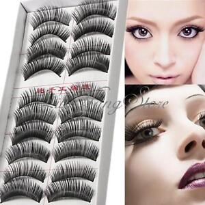 10-Paia-Nero-Ciglia-Finte-Manuale-Naturali-Lungo-Intenso-False-Eyelashes-Make-Up