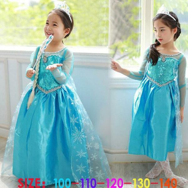 Princess Anna Elsa Queen Girls Cosplay Costume Party Formal Dress Elsa #4