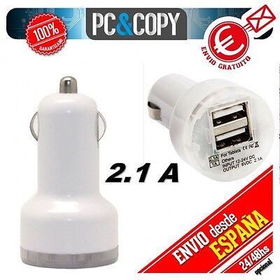Cargador dual mechero de coche para movil tablet 2.1A-1A doble USB blanco...