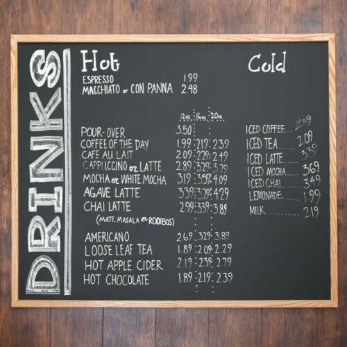 "36"" x 48"" Oak Frame Black Single Sided Restaurant Chalk Menu Board"