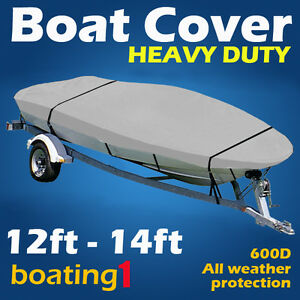 Heavy Duty Premium 600D 12ft-14ft Trailerable Marine Grade Boat Cover