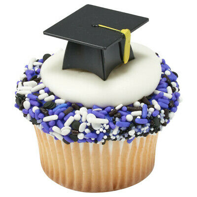 Cake Toppers New Graduation Hat Cupcake Picks One Dozen 3D