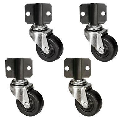 Side Mount Plate Swivel Casters - 2 Soft Rubber Wheel - Set Of 4