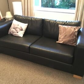 Black faux leather 3 seater sofa and armchair