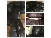 large brown leather effect corner sofa with chaise end
