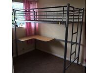 Metal high rise bed with desk