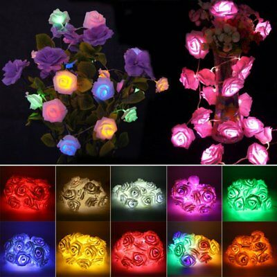 Fairy String Lights Rose Flower 20 LED Battery Operated Decorative Home Party - Led Rose