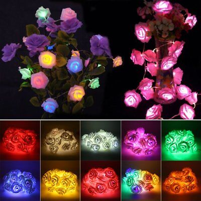 Fairy String Lights Rose Flower 20 LED Battery Operated Decorative Home Party