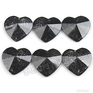 40x-New-Black-Hearts-Sew-on-Flatback-Buttons-25mm-24225