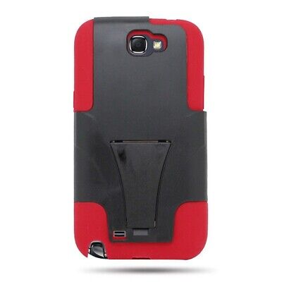 Samsung  Galaxy Note 2 N7100 Case Red Black Hybrid Kickstand Armor Skin Cover for sale  Shipping to India