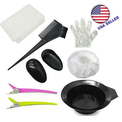Salon Hair Coloring Dyeing Kit Color Dye Brush Mixing Tint Tool Bleach 7pcs Comb