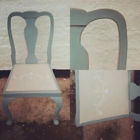 Vintage dining chair painted in fusion mineral paint metallic gold and heirloom