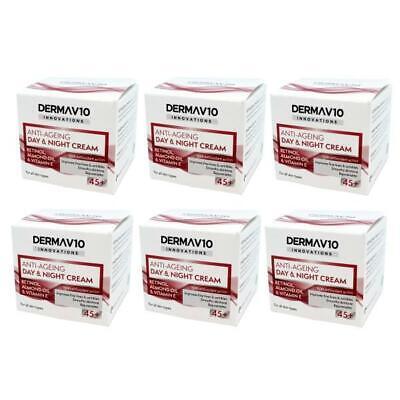 6 x Derma V10 Innovations Anti-Ageing Day & Night Cream Retinol 45+ 50ml