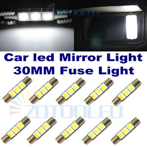 10x xenon white 3 smd car sun visor vanity mirror light 6641 led fuse bulbs 30mm ebay. Black Bedroom Furniture Sets. Home Design Ideas
