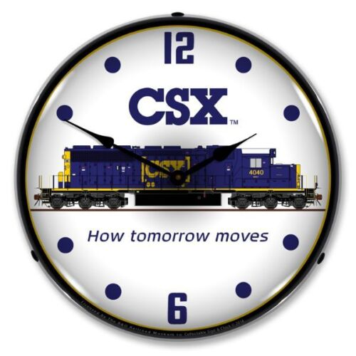 NEW  CSX RAILROAD BRIGHT LED BACKLIT LIGHTED ADVERTISING CLOCK - FREE SHIPPING*