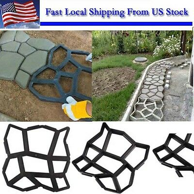 Black Paving Mold Garden Patio Driveway Concrete Stepping Stone Cement Molds Hot