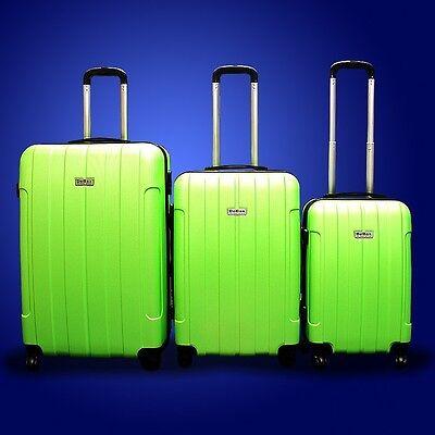 New DeBox 3PCS Luggage Travel Set Bag 3 PCS ABS Trolley Suitcase w/ Lock Green