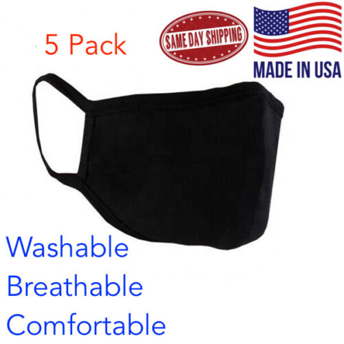 5 pack - Black Face Mask Unisex Adults Cloth Washable Reusable Dual Layer USA