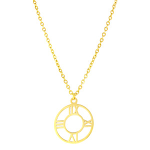 GOLD ROMAN NUMERALS NECKLACE WOMEN
