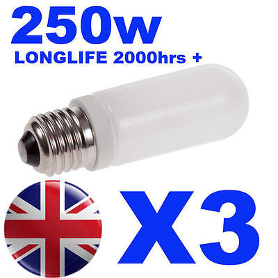 3x Halogen Long Life Modelling Bulb / Lamp / Light 250w for Bowens / Elinchrom
