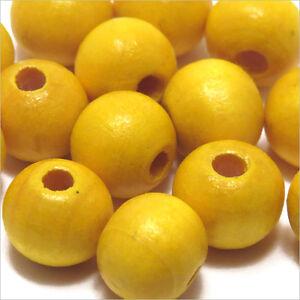 Set-di-50-perline-rotonde-in-legno-10mm-Giallo-Limone