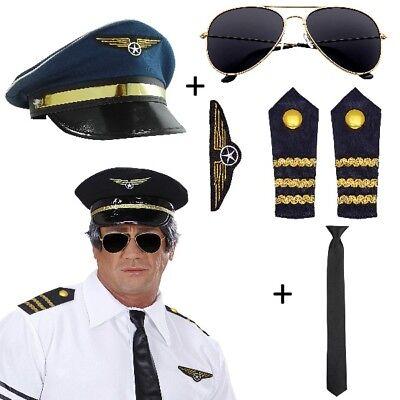 6tlg. Pilotin Piloten-Set Kostüm - Hut+Brille+Schulterklappen+Abzeichen+Krawatte