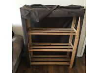 Shoe cabinet with dark brown canvas cover