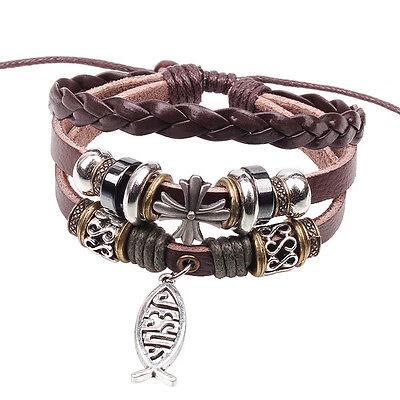 Jesus and Fish Woven Leather Christian Bracelet, Adjustable, Dark Brown Version