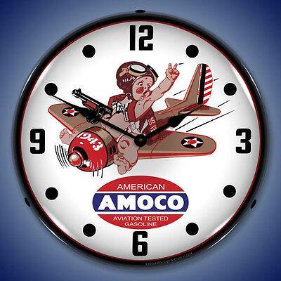 New nostalgic 1943 Amoco Aviation Gasoline  LIGHTED airplane clock Fast Ship 🛩