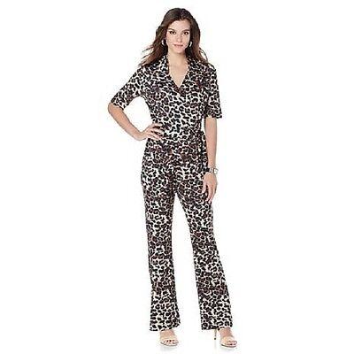 Wendy Williams Wrap Jumpsuit Tan Leopard Size Medium Retail  80