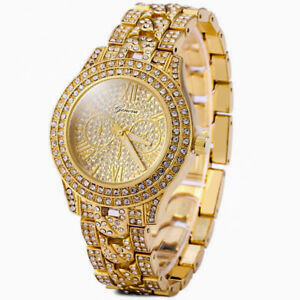 Mens Iced Hip Hop CZ 14K GP Gold Metal Bling Cuban Link Geneva Quartz Watch USA